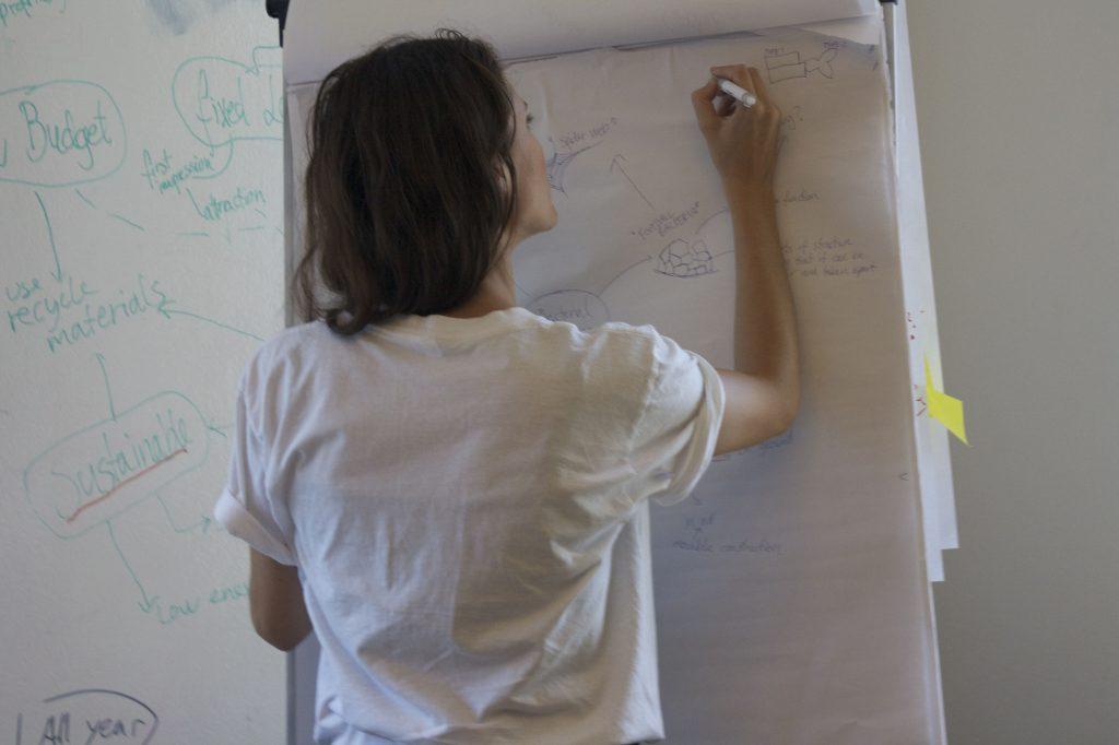 Pige skriver på tavle
